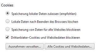 Chrome 33 Cookie-Behandlung