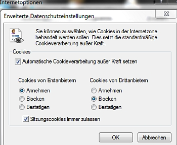 IE 11 Cookie-Behandlung